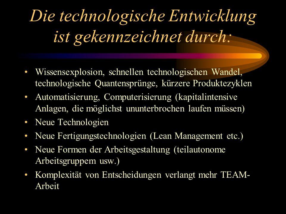Die technologische Entwicklung ist gekennzeichnet durch: