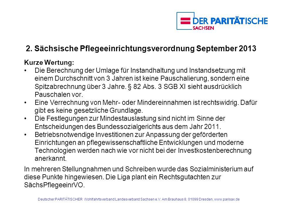2. Sächsische Pflegeeinrichtungsverordnung September 2013