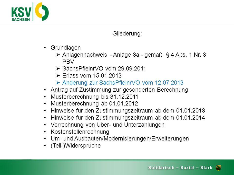 Gliederung: Grundlagen. Anlagennachweis - Anlage 3a - gemäß § 4 Abs. 1 Nr. 3 PBV. SächsPfleinrVO vom 29.09.2011.