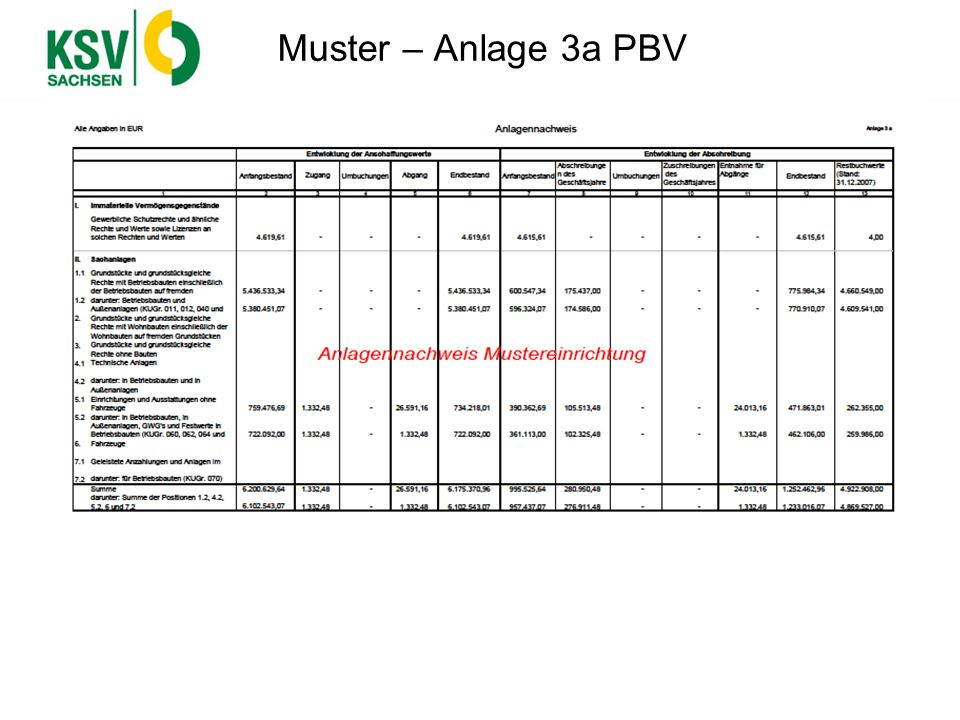 Muster – Anlage 3a PBV