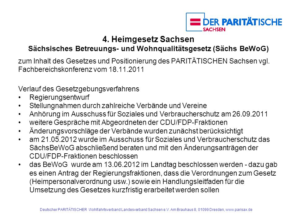 4. Heimgesetz Sachsen Sächsisches Betreuungs- und Wohnqualitätsgesetz (Sächs BeWoG)