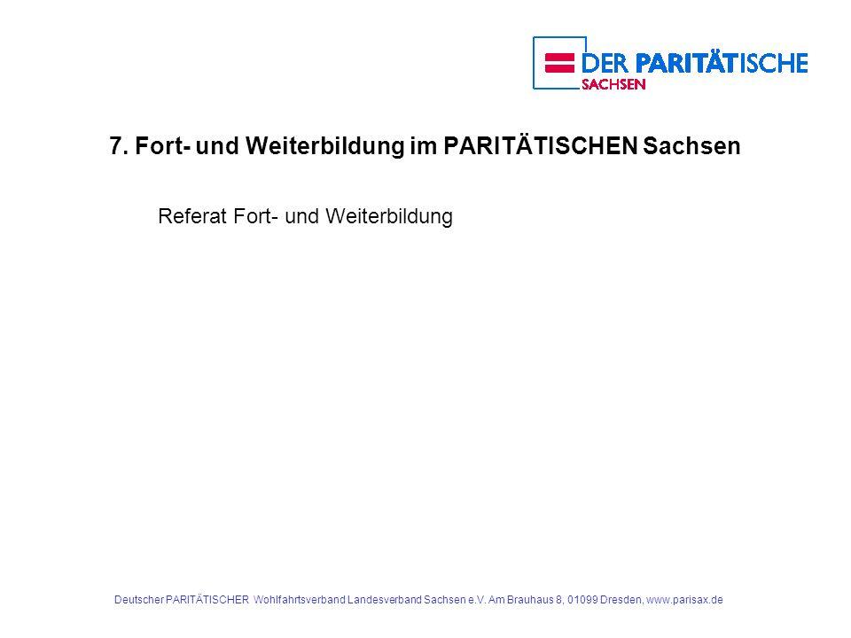 7. Fort- und Weiterbildung im PARITÄTISCHEN Sachsen