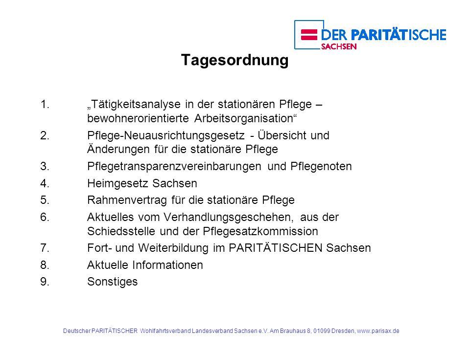 """Tagesordnung 1. """"Tätigkeitsanalyse in der stationären Pflege – bewohnerorientierte Arbeitsorganisation"""