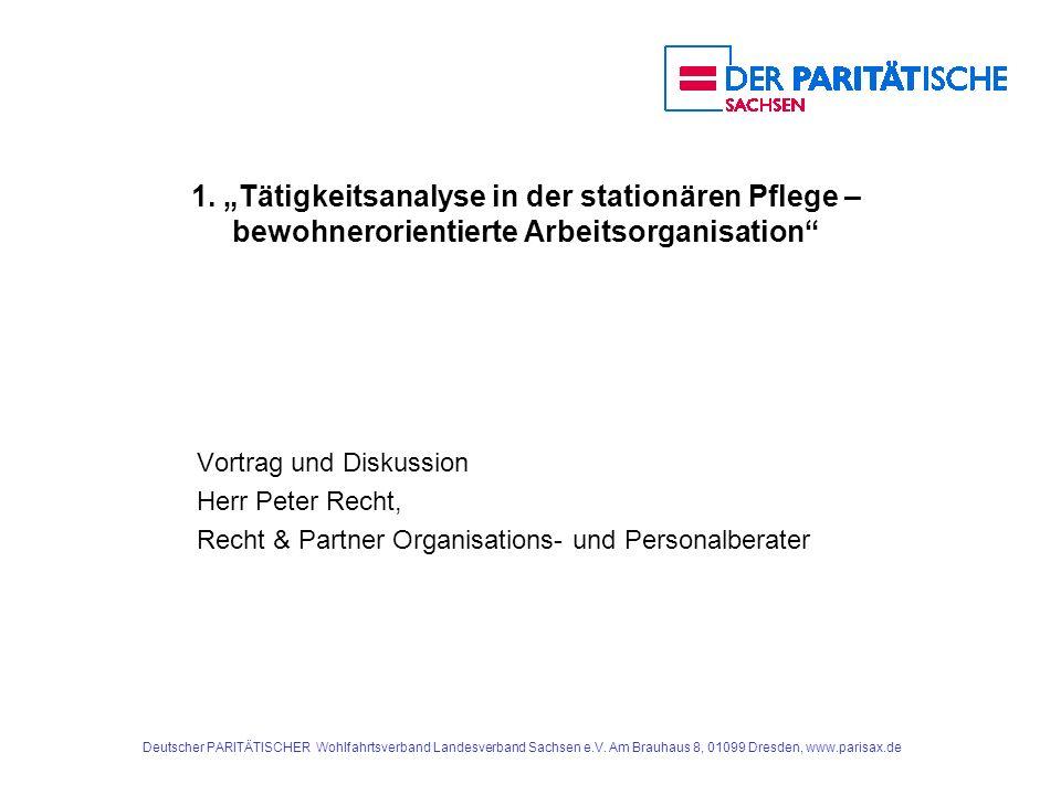 """1. """"Tätigkeitsanalyse in der stationären Pflege – bewohnerorientierte Arbeitsorganisation"""