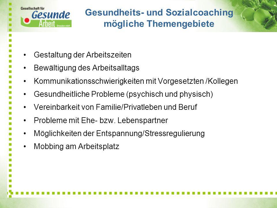Gesundheits- und Sozialcoaching mögliche Themengebiete