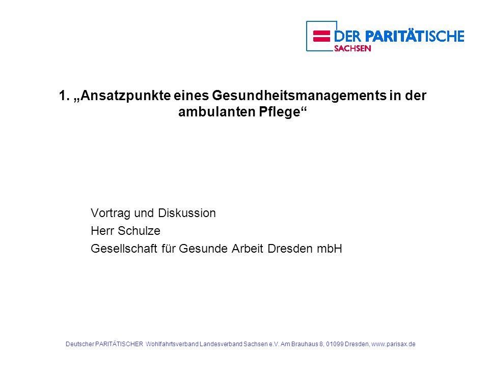 """1. """"Ansatzpunkte eines Gesundheitsmanagements in der ambulanten Pflege"""