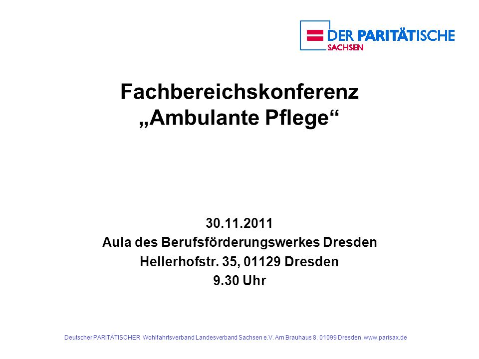 """Fachbereichskonferenz """"Ambulante Pflege"""