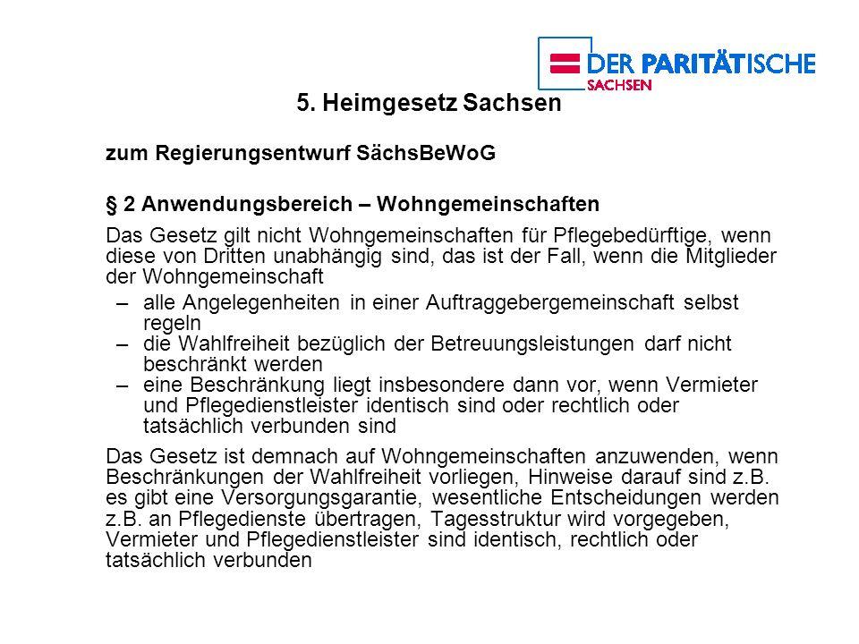 5. Heimgesetz Sachsen zum Regierungsentwurf SächsBeWoG