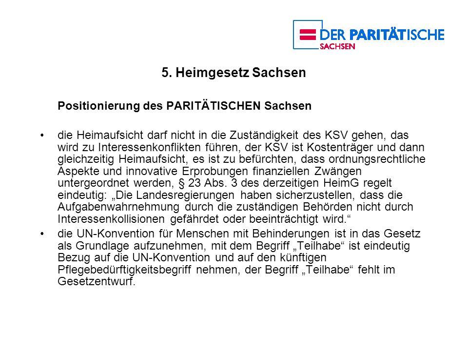 5. Heimgesetz Sachsen Positionierung des PARITÄTISCHEN Sachsen