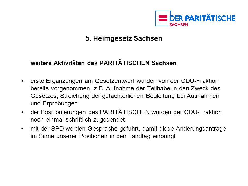 5. Heimgesetz Sachsen weitere Aktivitäten des PARITÄTISCHEN Sachsen