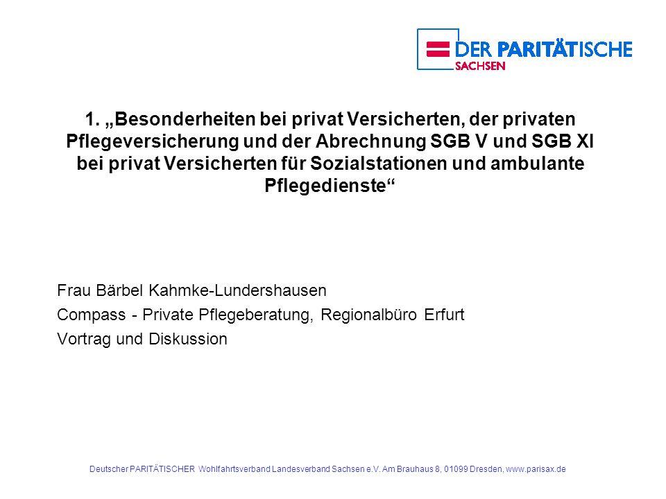 """1. """"Besonderheiten bei privat Versicherten, der privaten Pflegeversicherung und der Abrechnung SGB V und SGB XI bei privat Versicherten für Sozialstationen und ambulante Pflegedienste"""