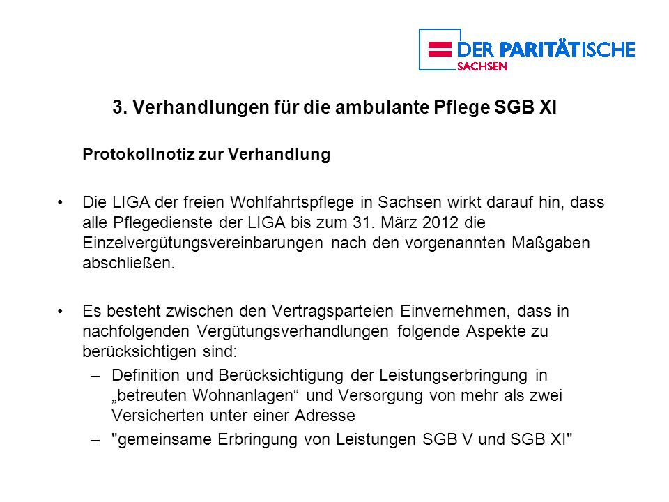 3. Verhandlungen für die ambulante Pflege SGB XI