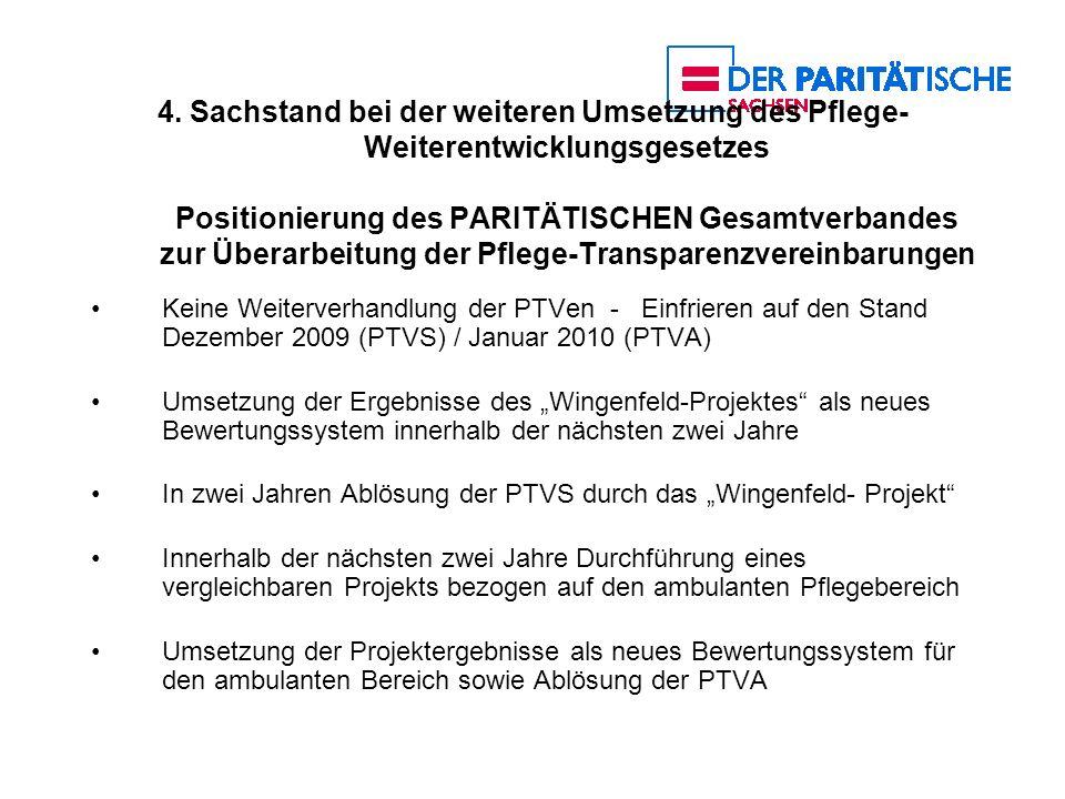 4. Sachstand bei der weiteren Umsetzung des Pflege-Weiterentwicklungsgesetzes Positionierung des PARITÄTISCHEN Gesamtverbandes zur Überarbeitung der Pflege-Transparenzvereinbarungen