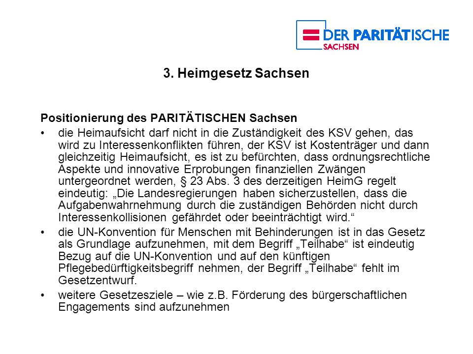 3. Heimgesetz Sachsen Positionierung des PARITÄTISCHEN Sachsen