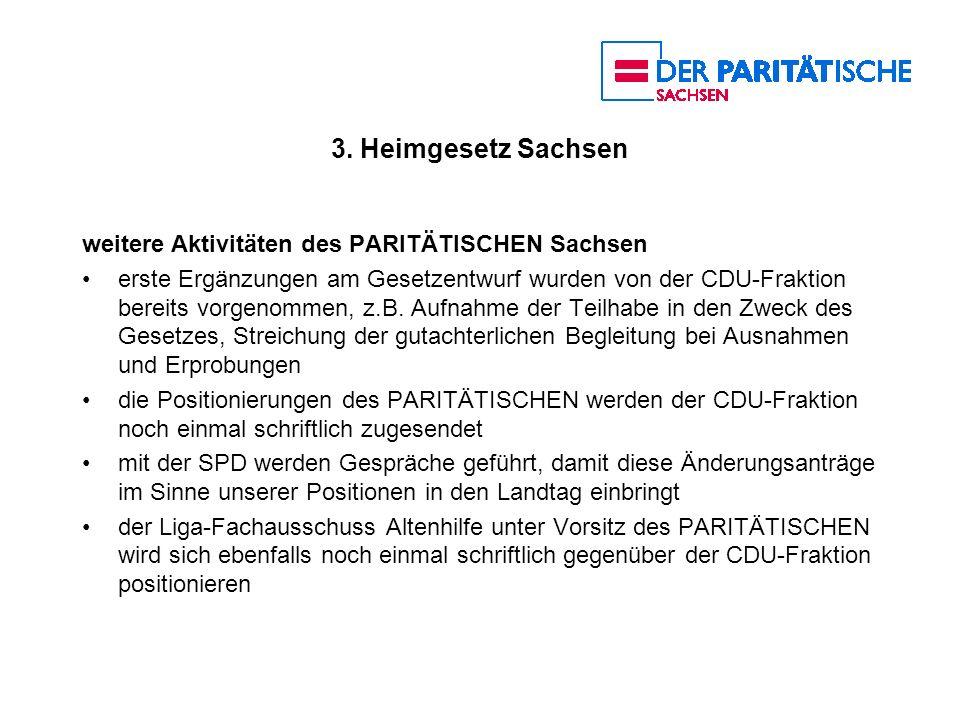 3. Heimgesetz Sachsen weitere Aktivitäten des PARITÄTISCHEN Sachsen