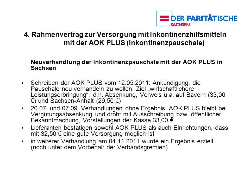 4. Rahmenvertrag zur Versorgung mit Inkontinenzhilfsmitteln mit der AOK PLUS (Inkontinenzpauschale)