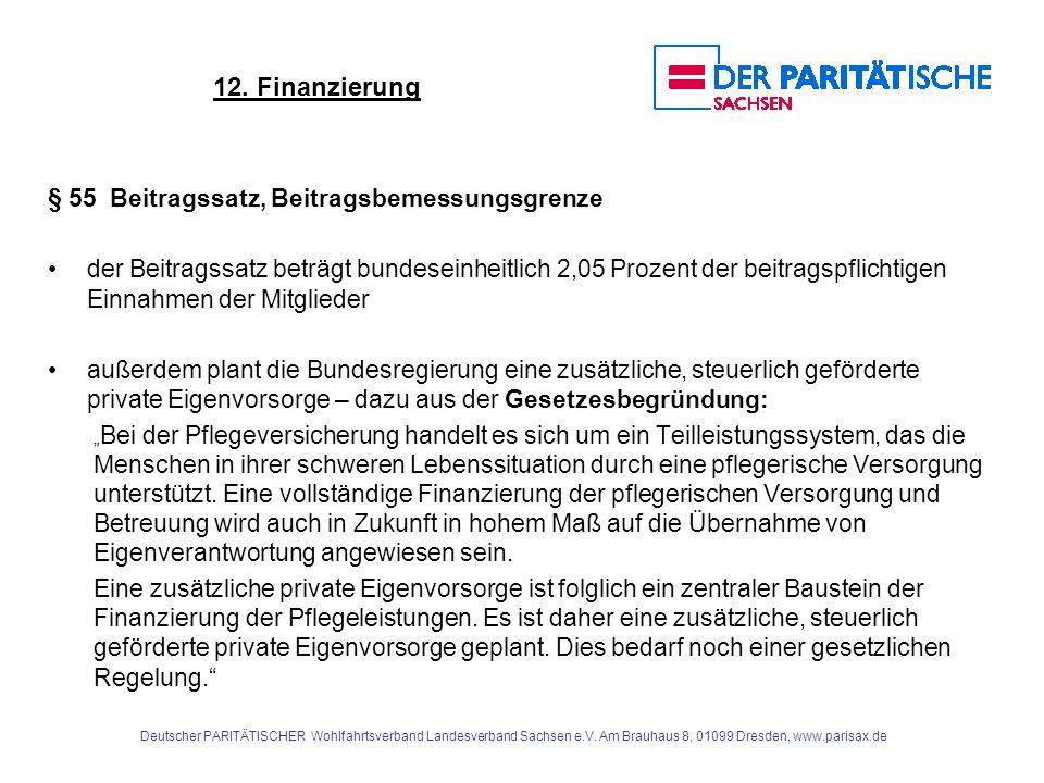 12. Finanzierung § 55 Beitragssatz, Beitragsbemessungsgrenze