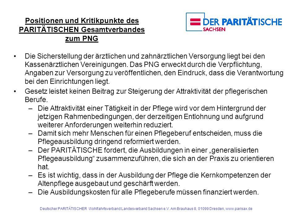 Positionen und Kritikpunkte des PARITÄTISCHEN Gesamtverbandes zum PNG