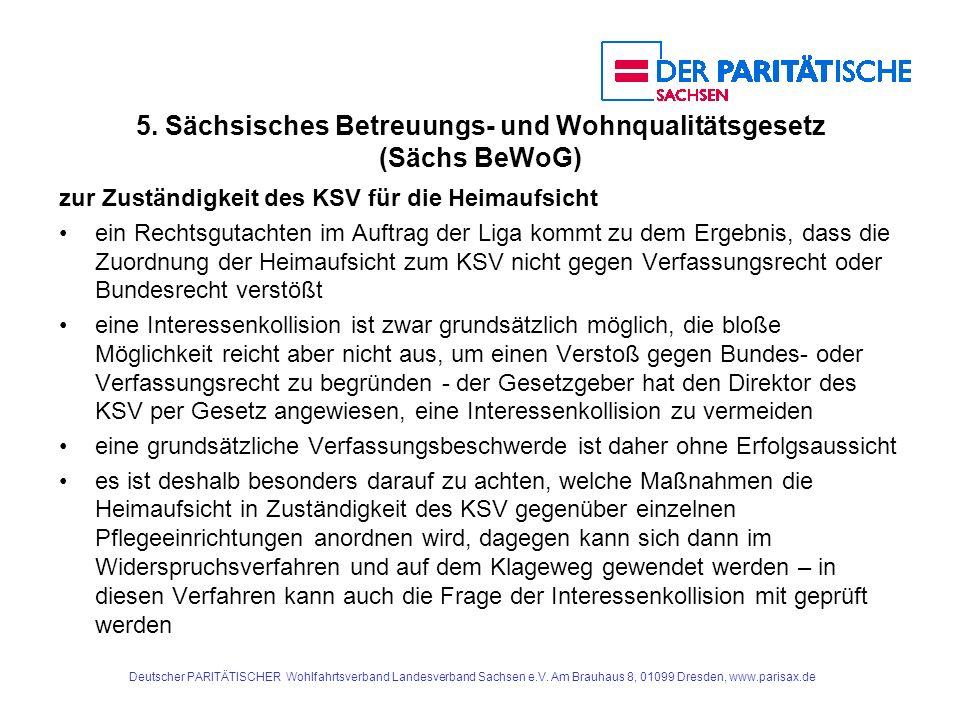 5. Sächsisches Betreuungs- und Wohnqualitätsgesetz (Sächs BeWoG)