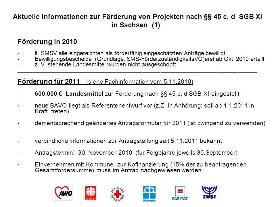 Aktuelle Informationen zur Förderung von Projekten nach §§ 45 c, d SGB XI in Sachsen (1)