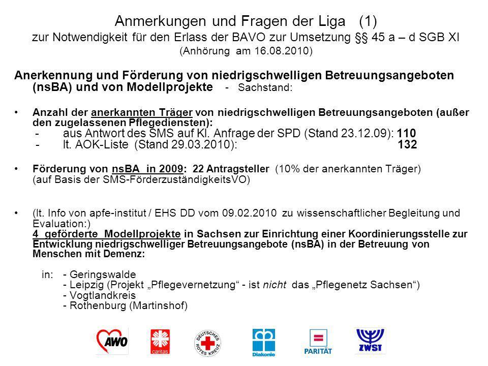 Anmerkungen und Fragen der Liga (1) zur Notwendigkeit für den Erlass der BAVO zur Umsetzung §§ 45 a – d SGB XI (Anhörung am 16.08.2010)