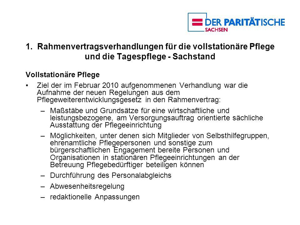 1. Rahmenvertragsverhandlungen für die vollstationäre Pflege und die Tagespflege - Sachstand