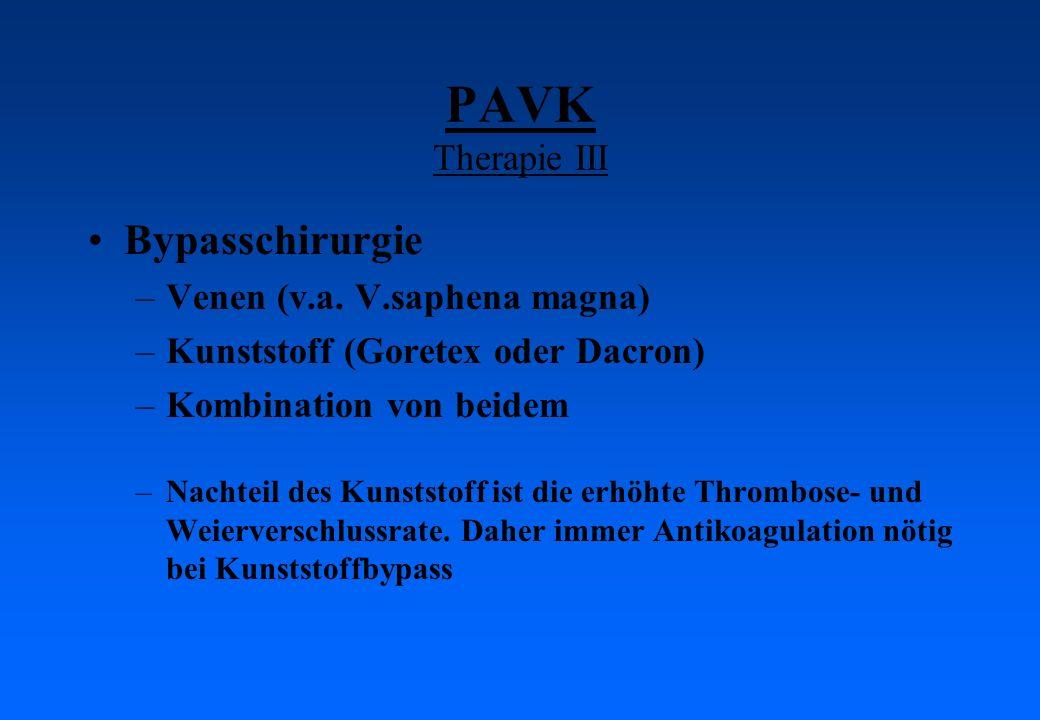 PAVK Therapie III Bypasschirurgie Venen (v.a. V.saphena magna)