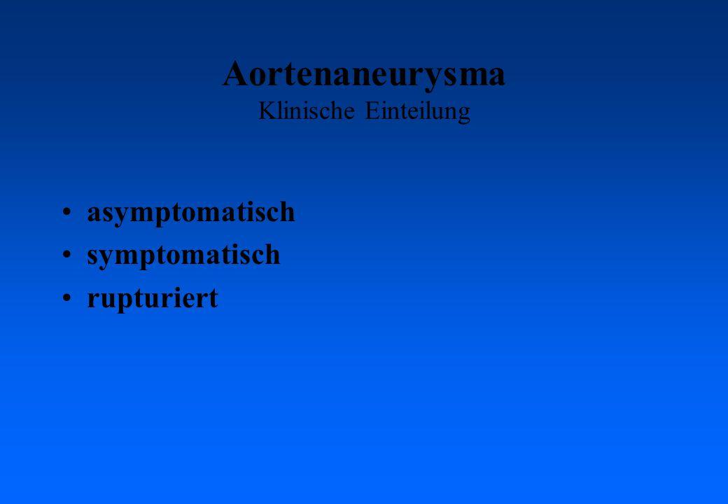 Aortenaneurysma Klinische Einteilung