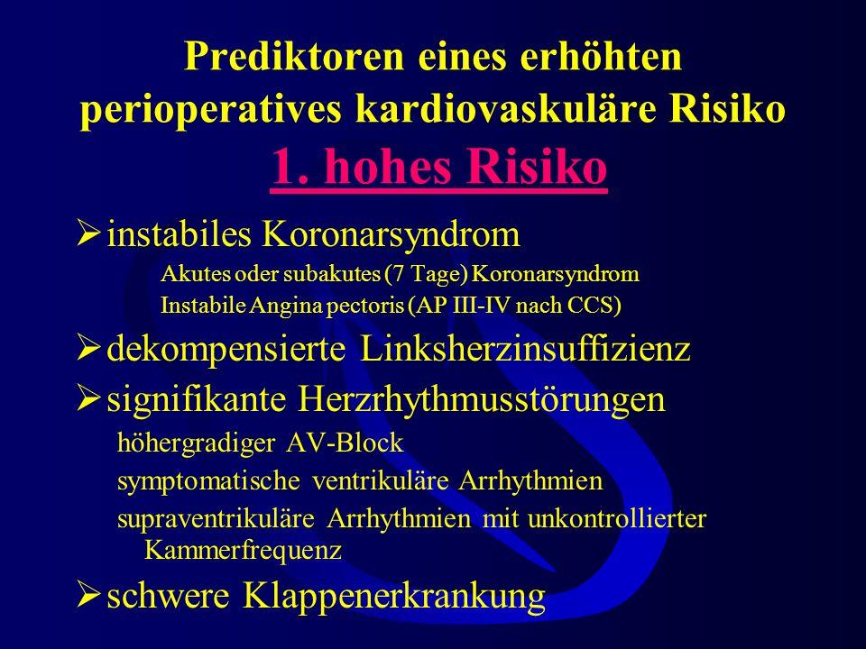 Prediktoren eines erhöhten perioperatives kardiovaskuläre Risiko 1
