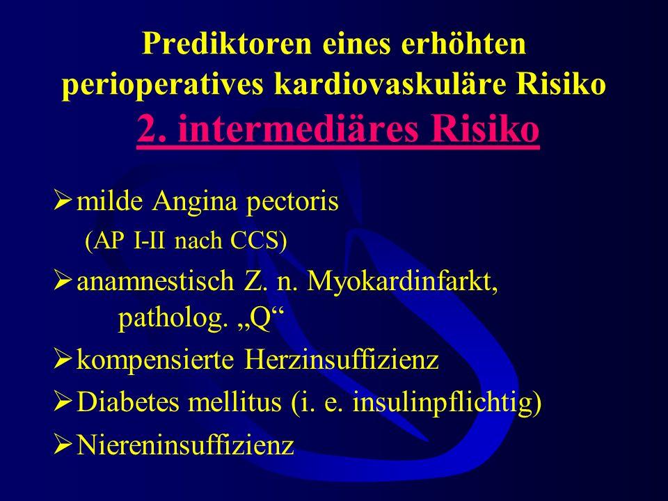 Prediktoren eines erhöhten perioperatives kardiovaskuläre Risiko 2