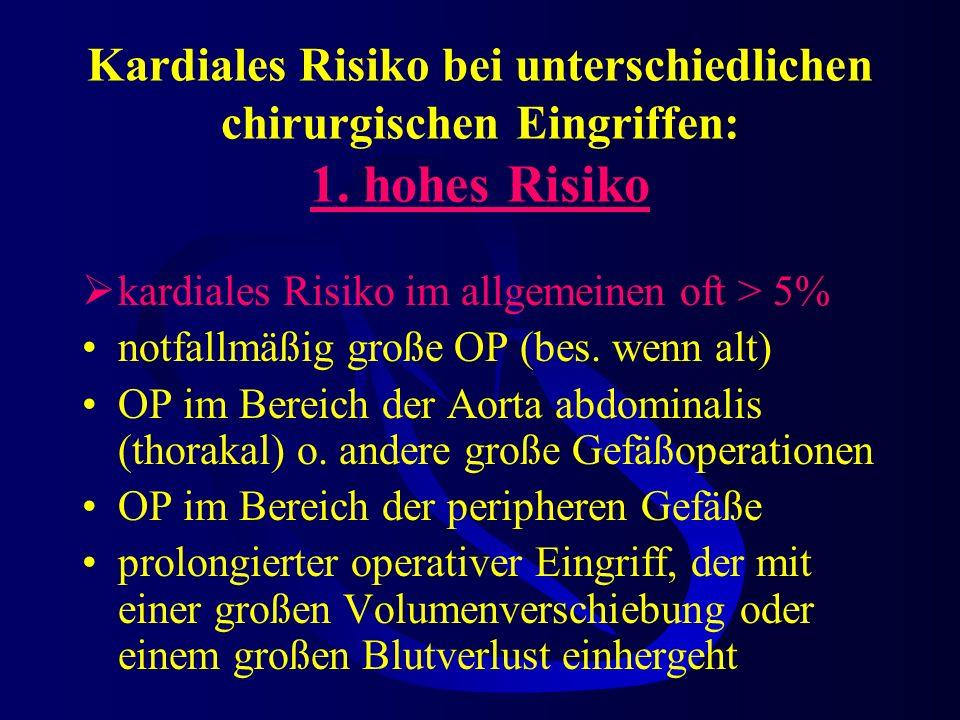 Kardiales Risiko bei unterschiedlichen chirurgischen Eingriffen: 1