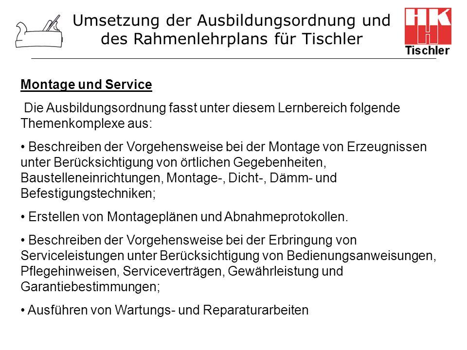Montage und Service Die Ausbildungsordnung fasst unter diesem Lernbereich folgende Themenkomplexe aus: