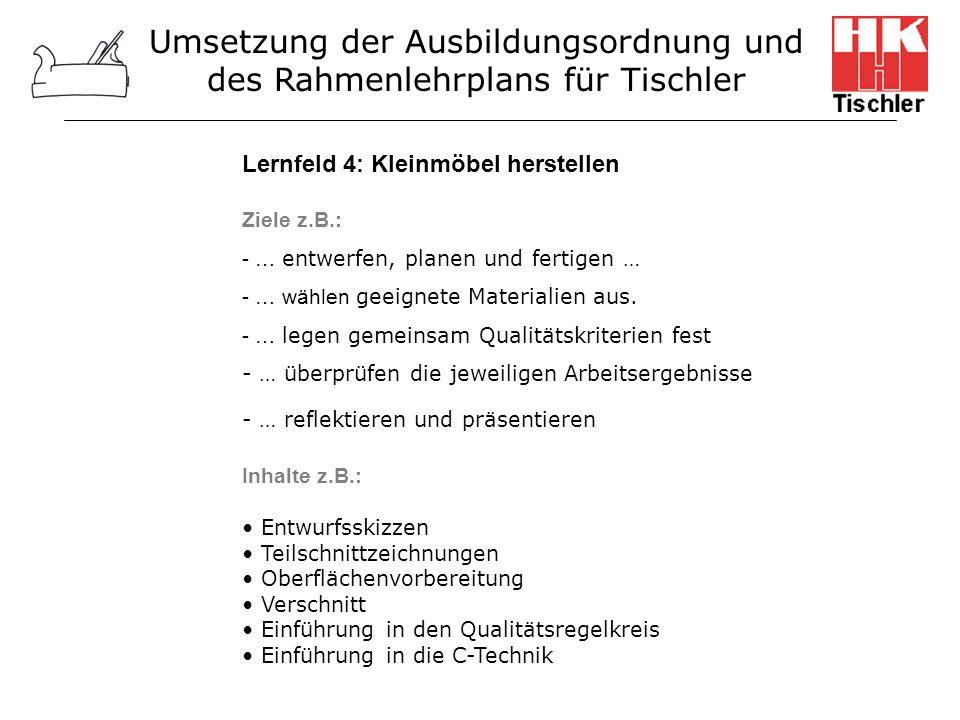 Lernfeld 4: Kleinmöbel herstellen Ziele z.B.: