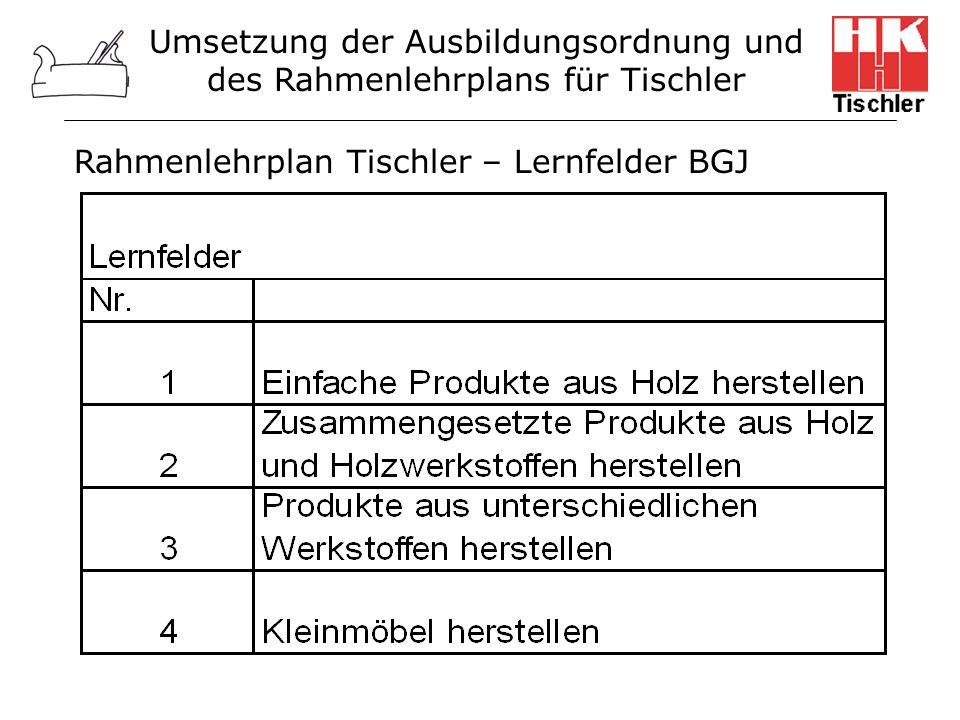 Rahmenlehrplan Tischler – Lernfelder BGJ