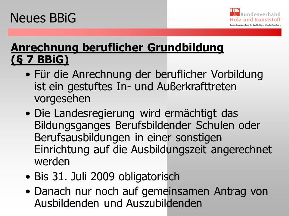 Neues BBiG Anrechnung beruflicher Grundbildung (§ 7 BBiG)