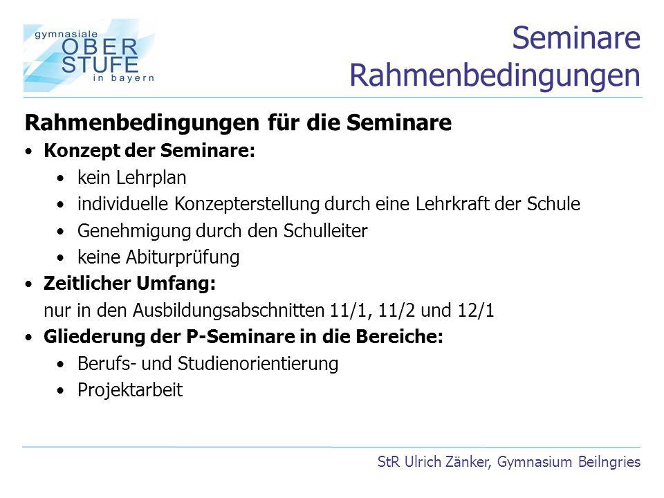 Seminare Rahmenbedingungen