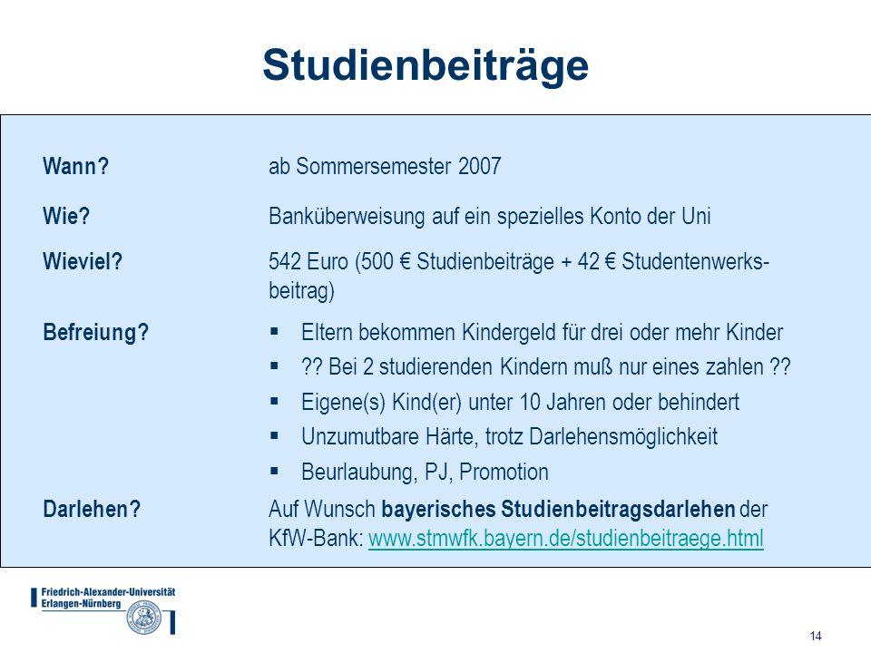 Studienbeiträge Wann ab Sommersemester 2007 Wie