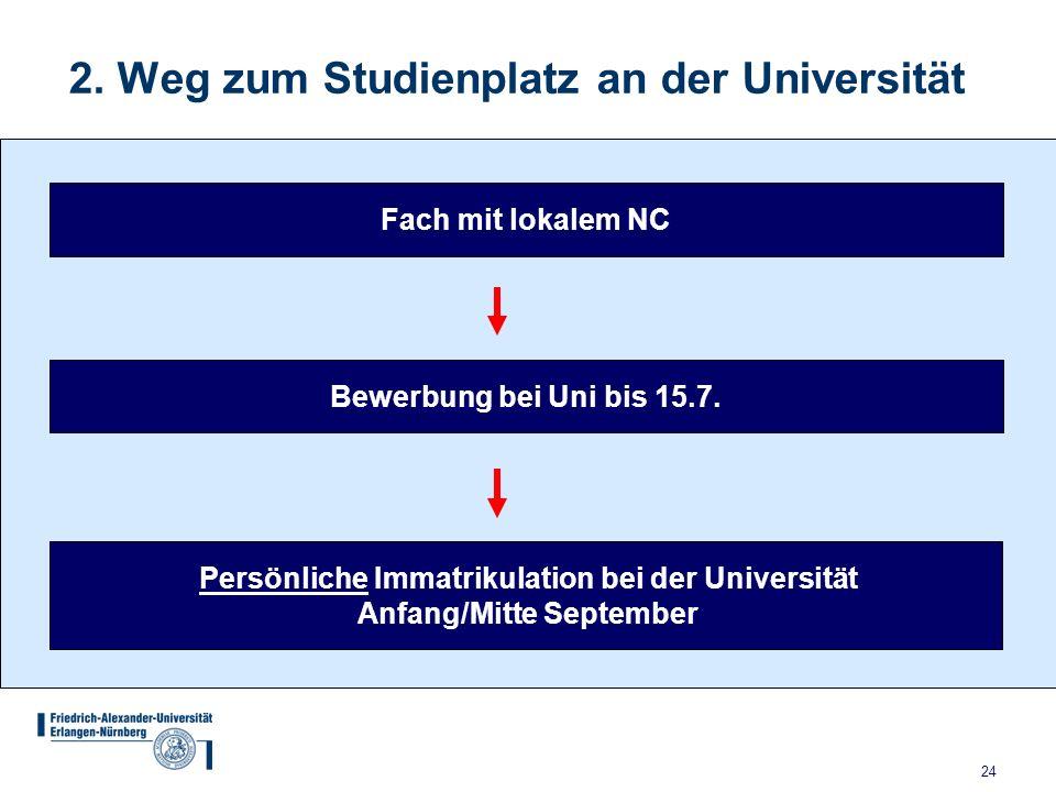 2. Weg zum Studienplatz an der Universität