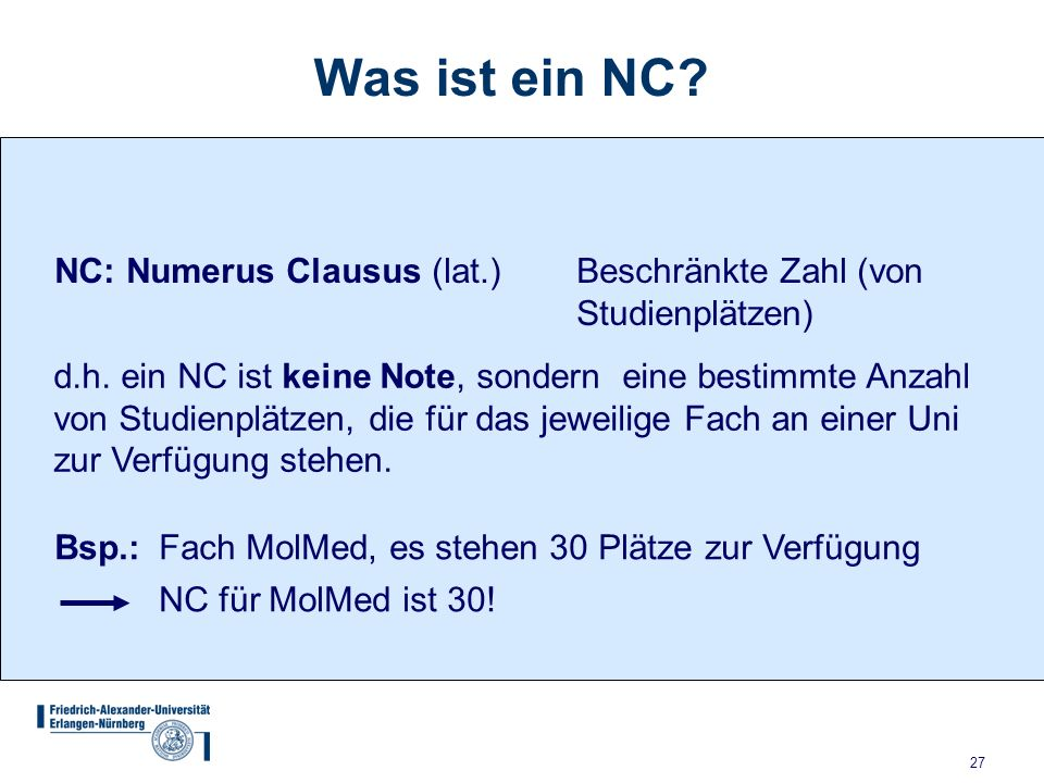 Friedrich alexander universit t erlangen n rnberg ppt video online herunterladen for Was ist numerus clausus
