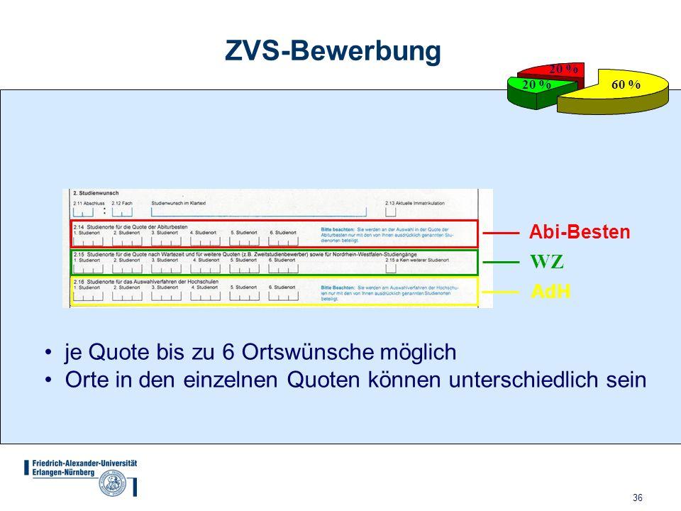 ZVS-Bewerbung je Quote bis zu 6 Ortswünsche möglich