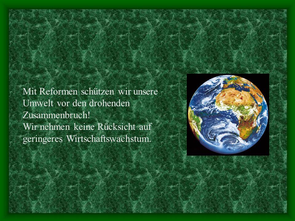 Mit Reformen schützen wir unsere Umwelt vor den drohenden Zusammenbruch!
