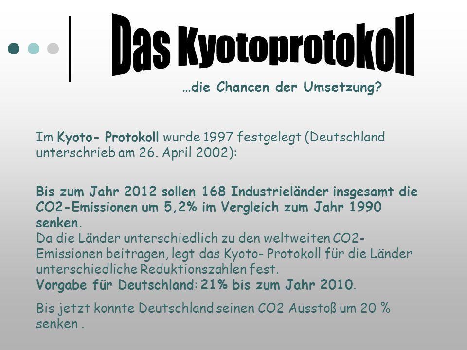 Das Kyotoprotokoll …die Chancen der Umsetzung