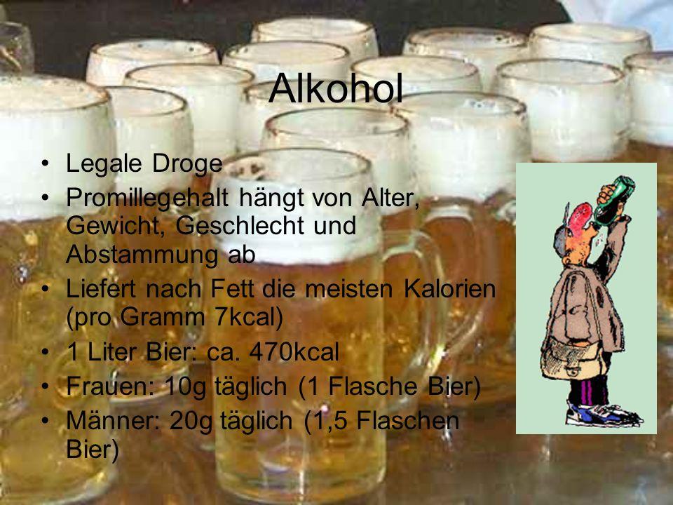 Alkohol Legale Droge. Promillegehalt hängt von Alter, Gewicht, Geschlecht und Abstammung ab.