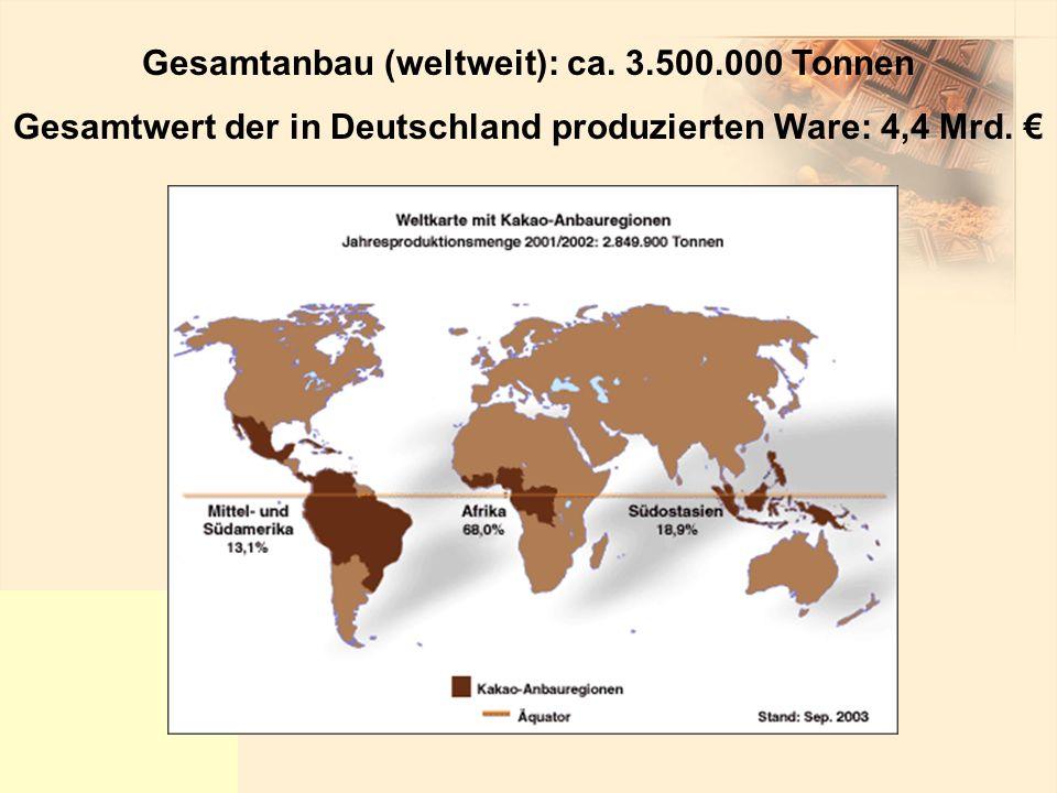 Gesamtanbau (weltweit): ca. 3.500.000 Tonnen