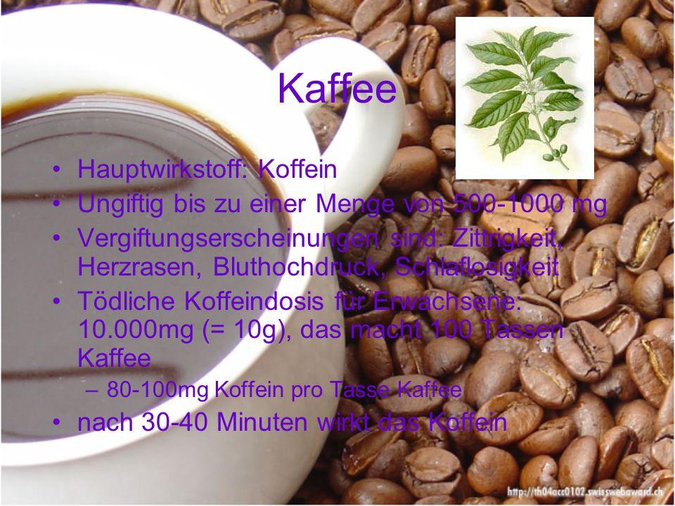 Kaffee Hauptwirkstoff: Koffein