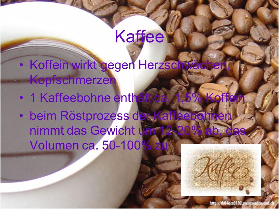 Kaffee Koffein wirkt gegen Herzschwächen, Kopfschmerzen