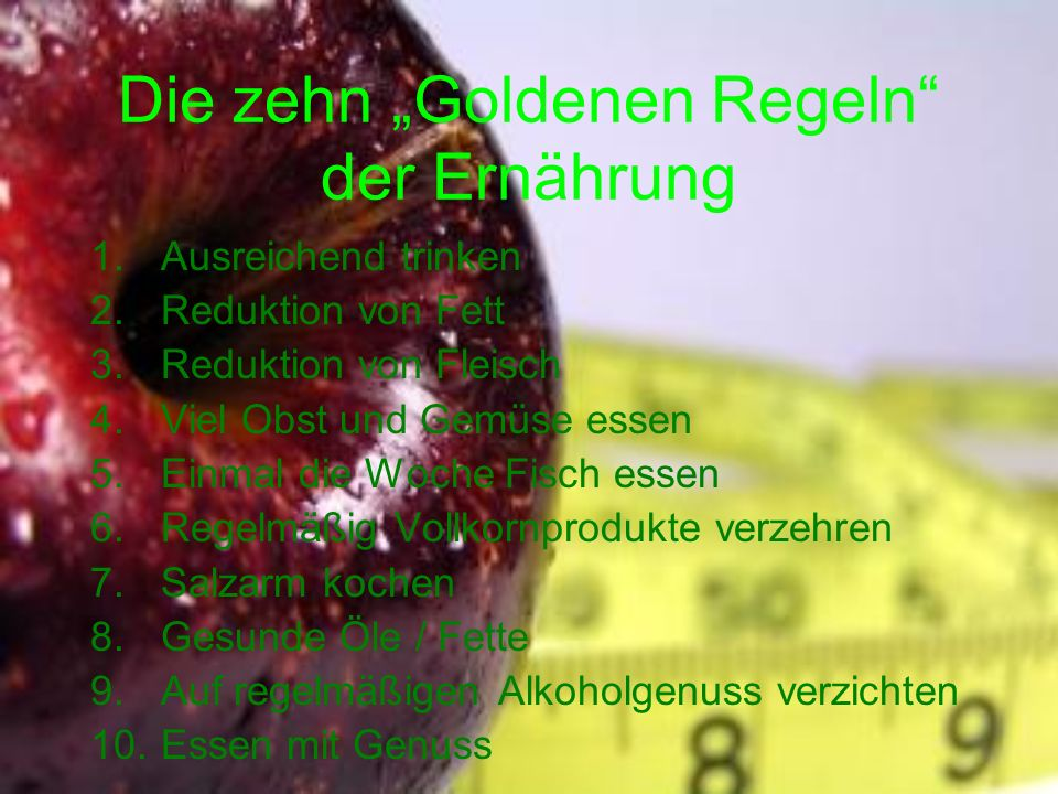 """Die zehn """"Goldenen Regeln der Ernährung"""