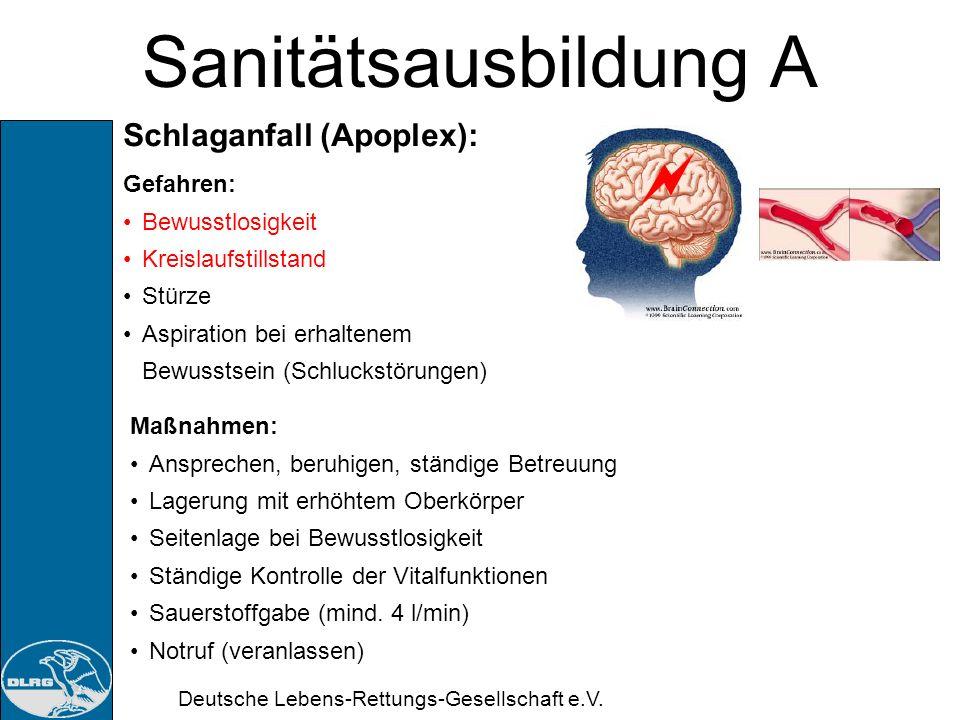Sanitätsausbildung A Schlaganfall (Apoplex): Gefahren: