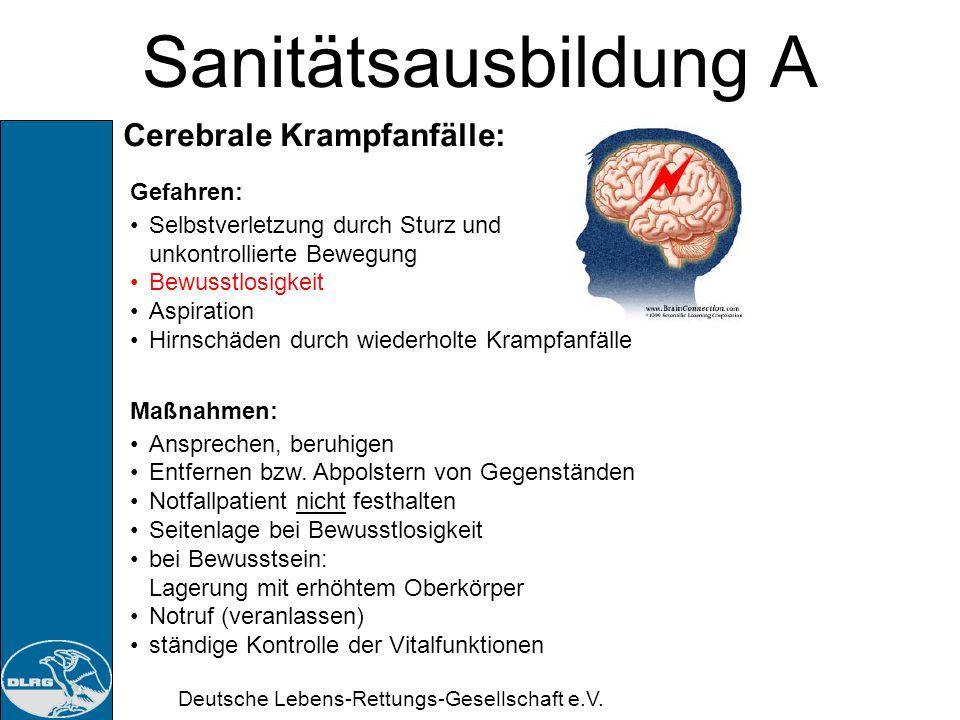 Sanitätsausbildung A Cerebrale Krampfanfälle: Gefahren: