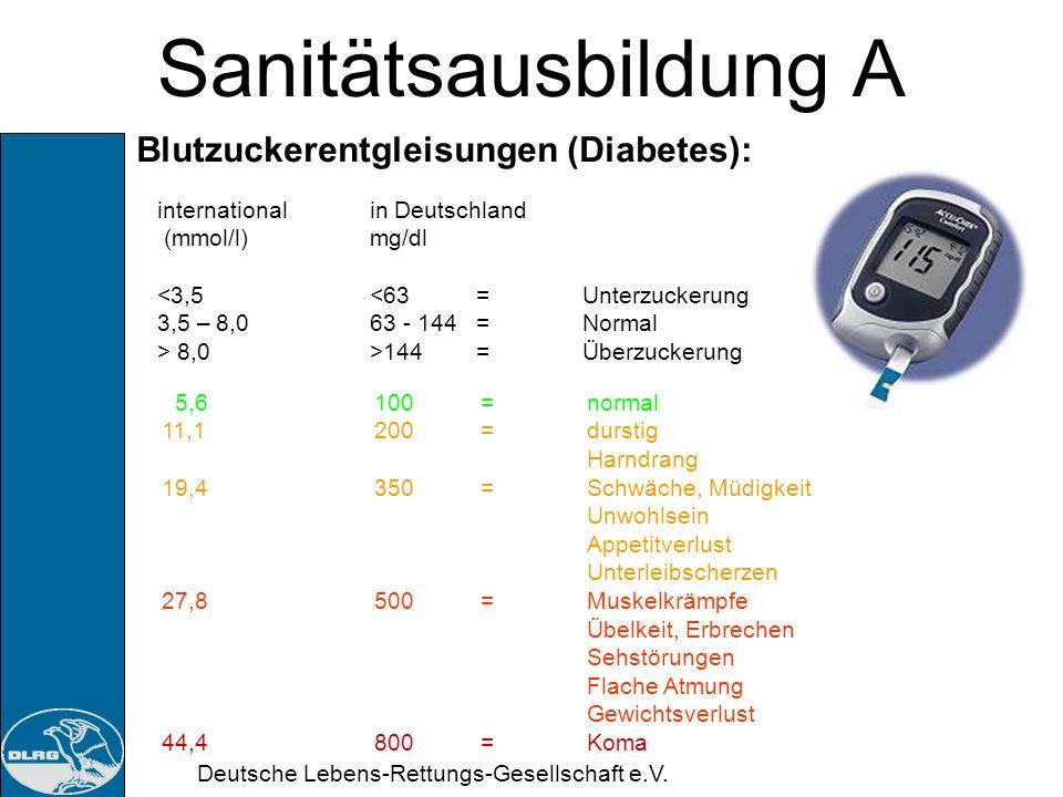 Sanitätsausbildung A Blutzuckerentgleisungen (Diabetes):